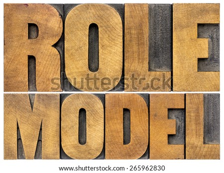 role model -  leadership concept - isolated word abstract in letterpress  wood type - stock photo