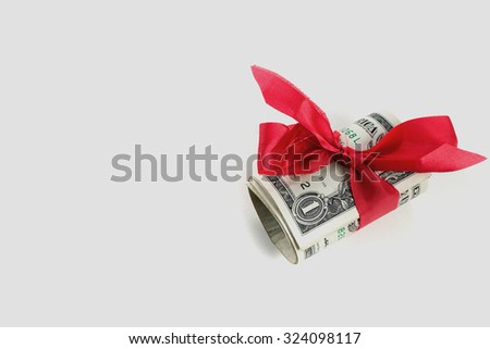 role of  one dollar gift  with red ribbon