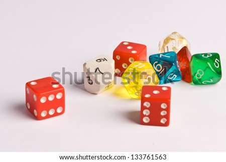 Role Play Dice on a white table top
