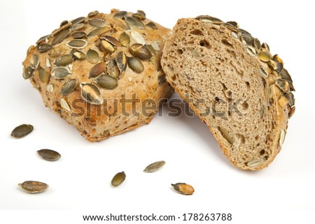 Roll breads with pumpkin seeds - stock photo