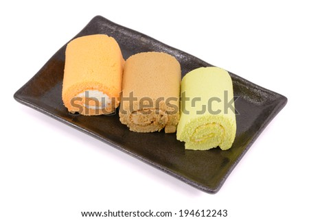 Roll cakes isolated on white background