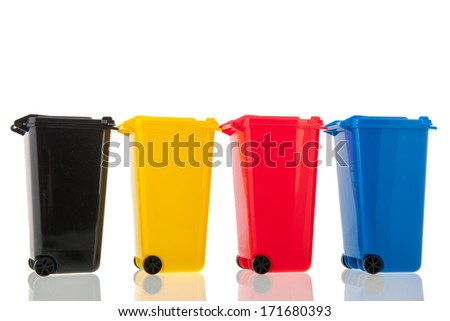 roll containers in different colors for recycling isolated over white background