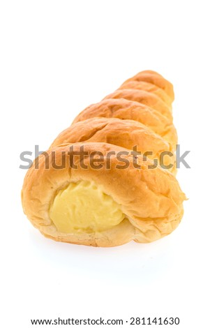 Roll cream bread isolated on white background