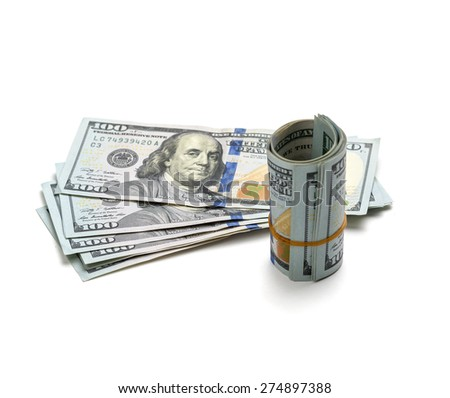 roll hundred dollar bills on a white background