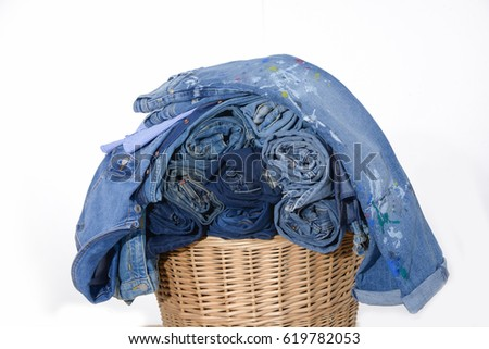 roll Jeans with jeans shirt in the basket