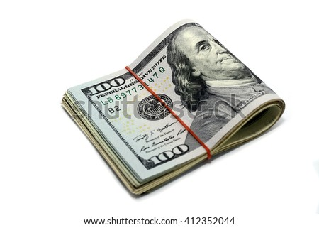 Roll of America money , banknote100 dollar Isolated on white background - stock photo