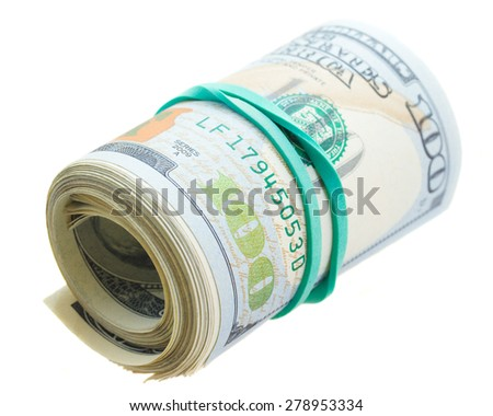 roll of 100 bill dollars  isolated on white background - stock photo
