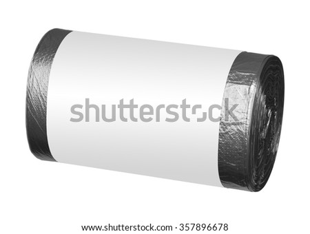Roll of black plastic garbage bags - isolated on white - stock photo