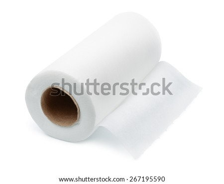 Roll of disposable nonwoven fabric towels isolated on white - stock photo