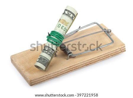 Roll of dollar banknote in the mousetrap isolated on white background concept financial danger - stock photo