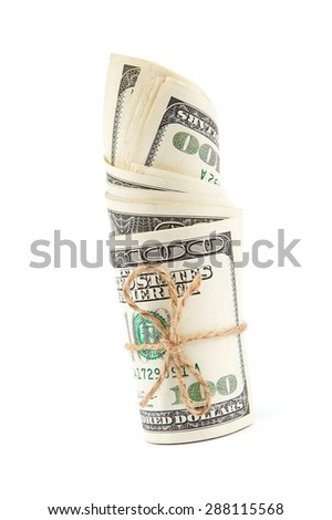 Roll of dollar banknotes isolated on white background. - stock photo