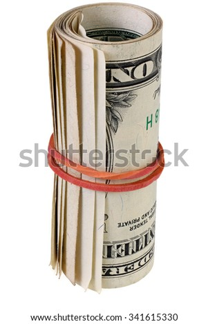 Roll of dollar banknotes isolated on white with Clipping Path - stock photo