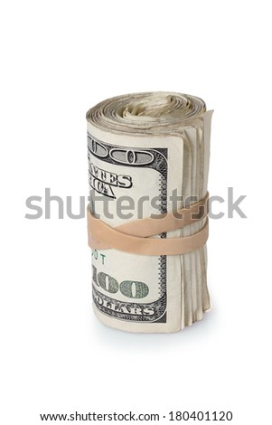 Roll of dollar bills, cutout on white background