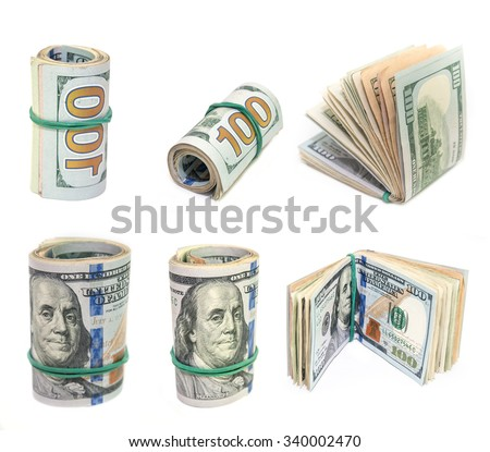 roll of dollars bills  isolated on a white background