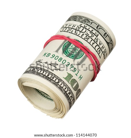 Roll of dollars with rubber band isolated on white background - stock photo