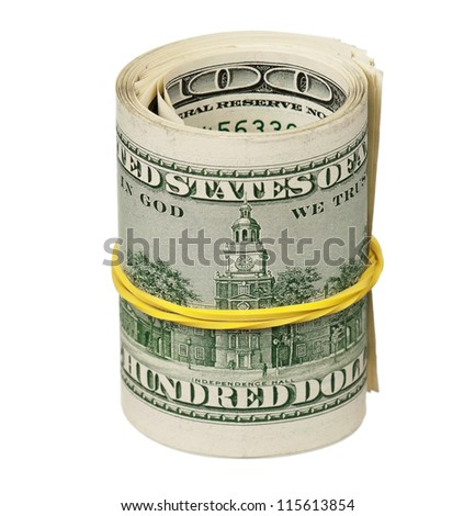 Roll of dollars with rubber band isolated on white background