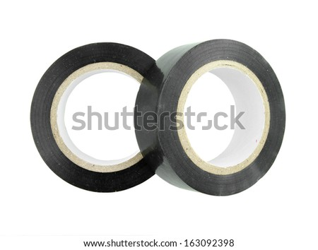 Roll of duct tape on white background (with clipping path) - stock photo