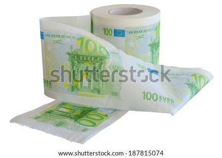 Roll of 100 Euro bank notes toilet paper isolated on white background - stock photo