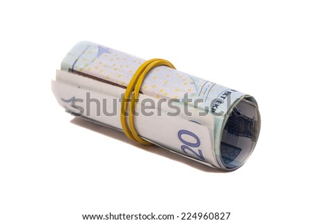 Roll of euro banknotes isolated over white background