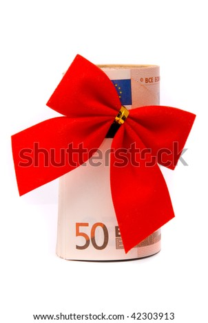 Roll of Euro money and red bow isolated on white background - stock photo