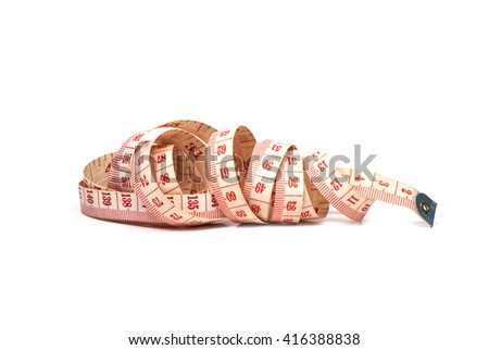 roll of measure tape isolated on white background