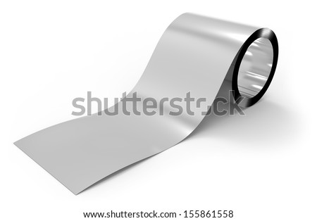 Roll of metal foil - stock photo
