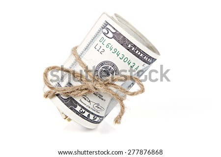 Roll of money on isolated white - stock photo