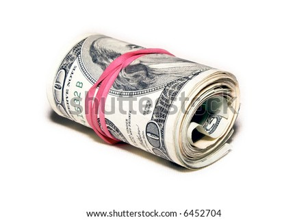 roll of money wrapped with a red elastic  isolated