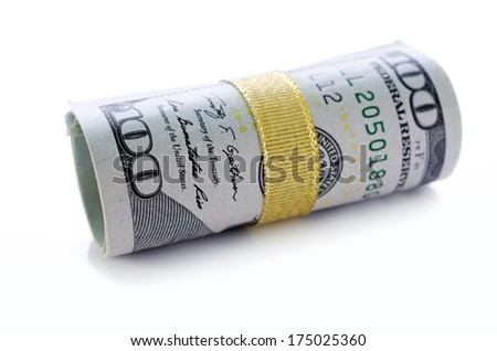 Roll of New One hundred dollars on white background. - stock photo
