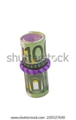 Roll of one hundred euro banknotes with a rubber band, isolated on white background - stock photo