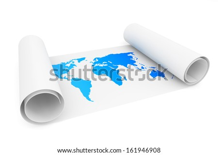 Roll of paper with Earth Map on a white background - stock photo