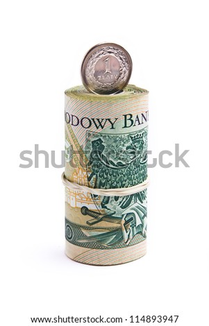 Roll of polish one hundred banknotes
