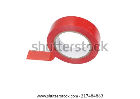 Roll of red adhesive plastic tape