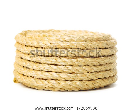 Roll of rope on pure white background - stock photo