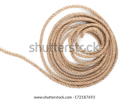 Roll of ship rope. Isolated on white background