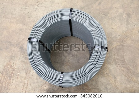roll of steel rebar used in civil construction - stock photo