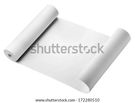 Roll of thermal fax paper isolated on white - stock photo