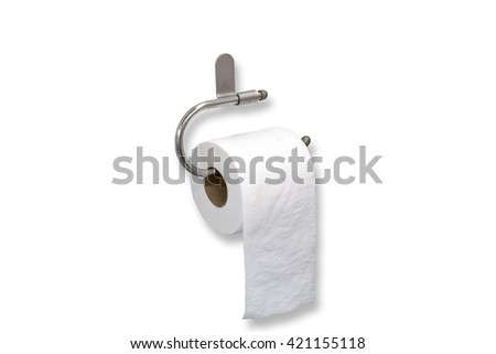 Roll of toilet paper hanging isolated on white background, with clipping path - stock photo