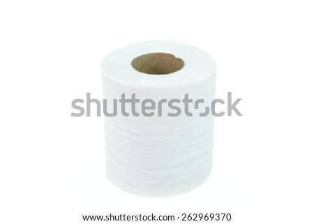 Roll of toilet paper isolated on white background - stock photo