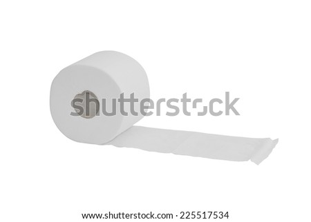 Roll of toilet paper isolated over a white background. WC softness.