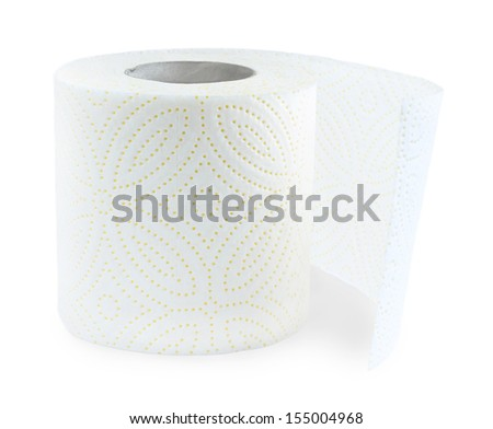 Roll of toilet paper over a white background  - stock photo