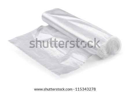 Roll of transparent packaging plastic bags isolated on white - stock photo