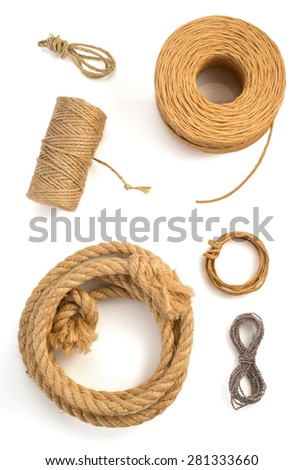 roll of twine cord and thread isolated on white background - stock photo