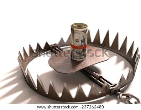Roll of US $100 with the face of Franklin gagged on a bear trap. - stock photo