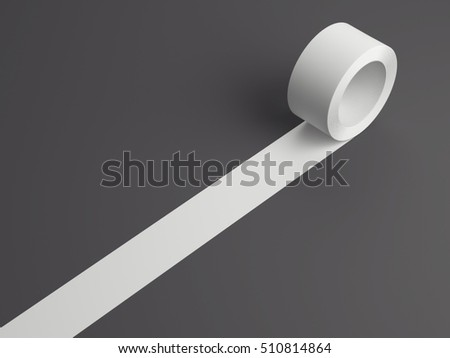 Roll of white sticky tape on a gray floor. 3d rendering