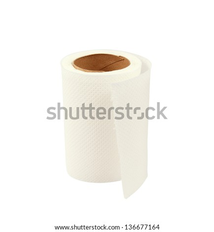 Roll of white toilet paper isolated on white