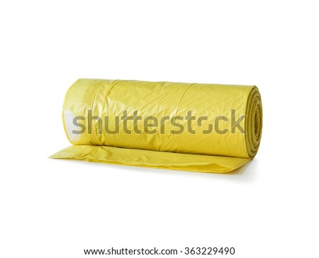 roll of yellow garbage bags isolated on white background - stock photo