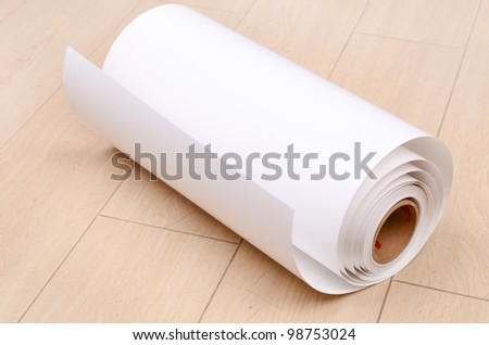 Roll paper on floor - stock photo