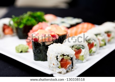 Roll set served on a plate - stock photo