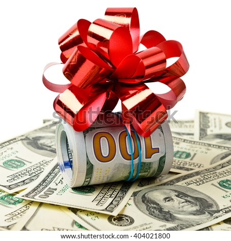 Roll stack of cash with red bow on banknotes  isolated. Money gift - stock photo